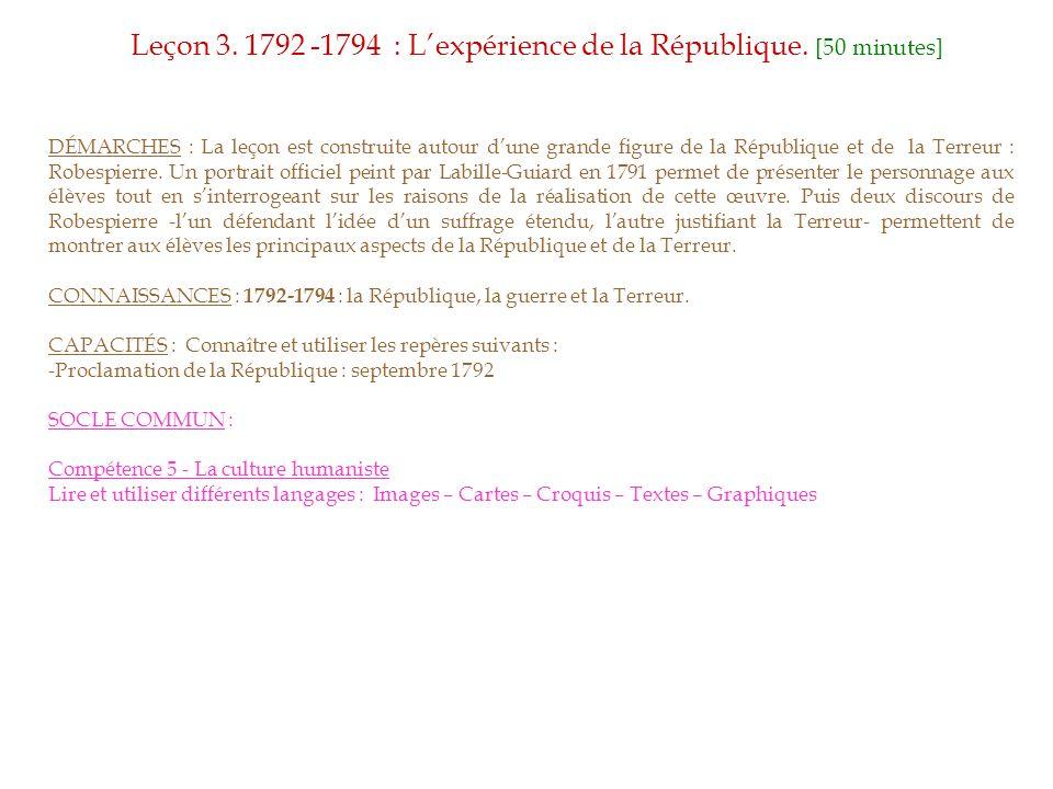 Leçon 3. 1792 -1794 : L'expérience de la République. [50 minutes]